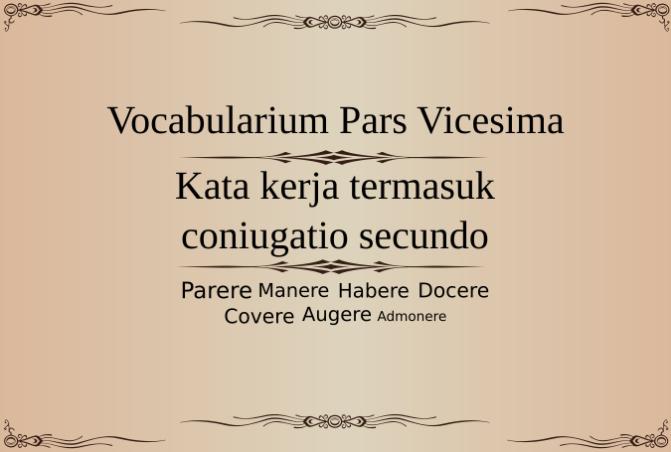 Vocabularium Pars Vicesima