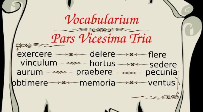 Vocabularium Pars Vicesima Tria