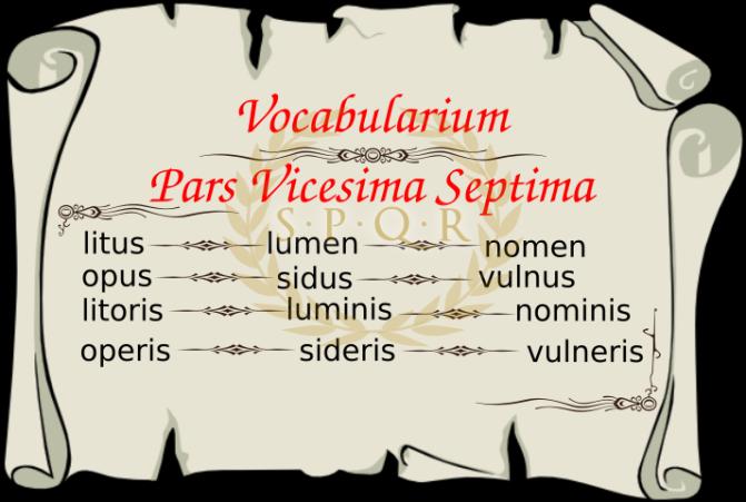 Vocabularium Pars Vicesima Septima